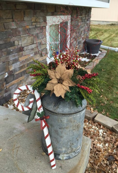 Rustic Poinsettia Milk Can Planter