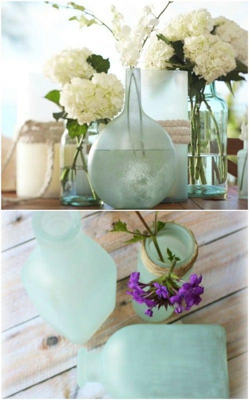 Pottery Barn Inspired Decorative Sea Glass Vases
