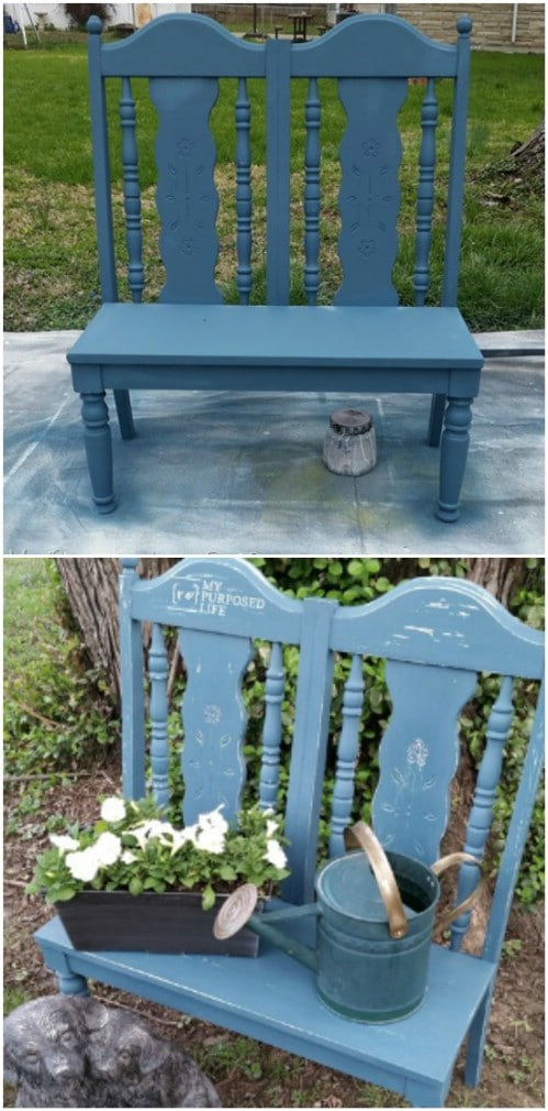 Repurposed Chair Garden Bench