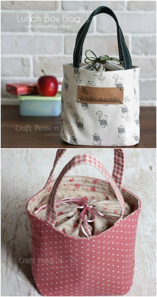 Drawstring Tote Style Lunch Bag