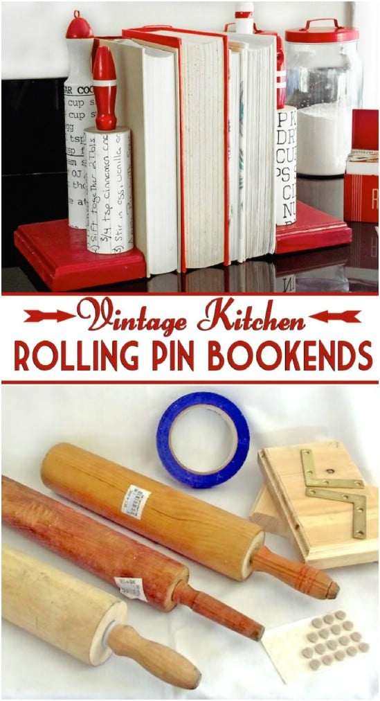 Vintage Rolling Pin Bookends