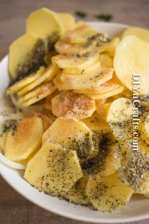 Dried Italian herbs on the potatoes before you bake them gives them wonderful flavor when they're done