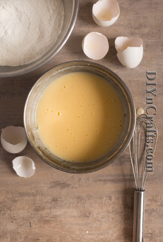Whisk together eggs, buttermilk and other ingredients until smooth