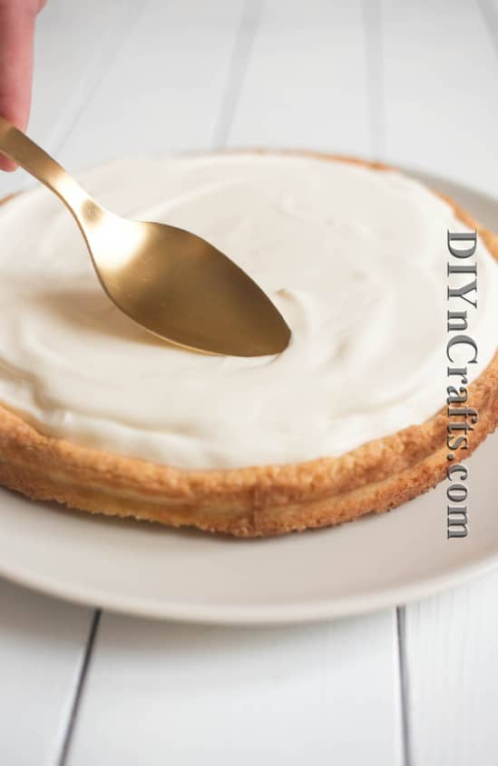 Smooth cream cheese mixture over crust and chill for four hours
