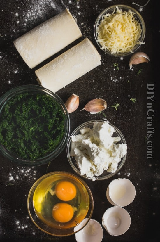 Puff pastry, spinach, feta and mozzarella give these little pies big flavor