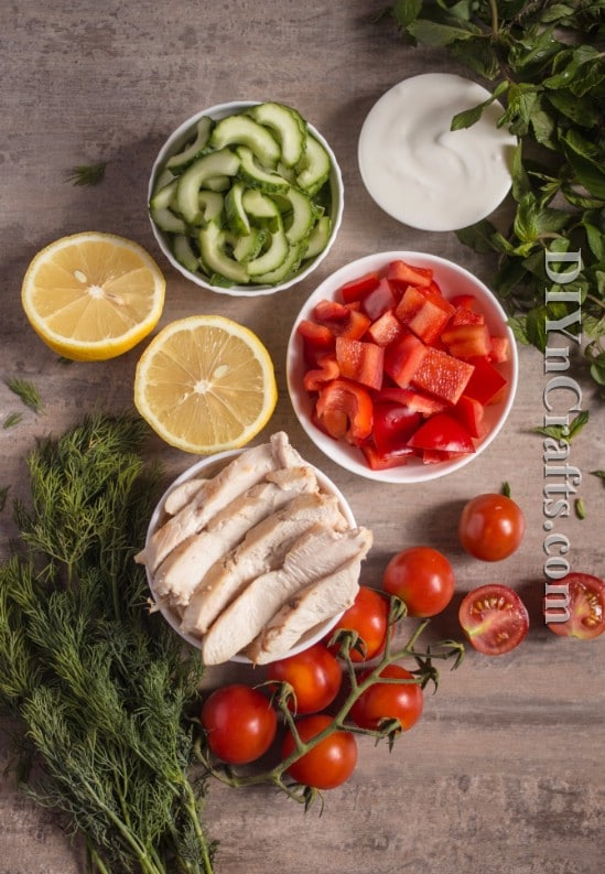 Cooked chicken, cucumbers and cherry tomatoes are the basis for this delicious chicken and veggie salad
