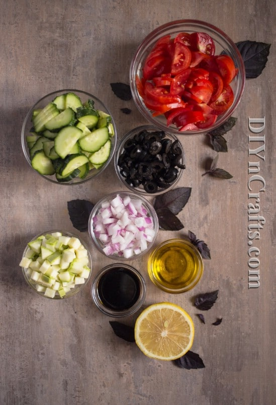 Tomato, zucchini and cucumbers give this salad a beautiful color and taste