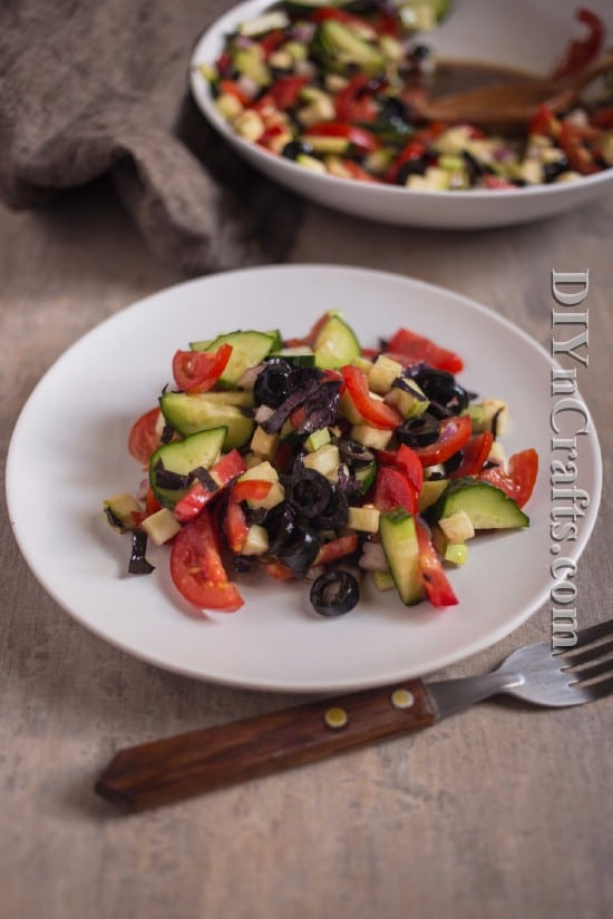 Black olives bring out the wonderful colors of the salad and add a unique taste