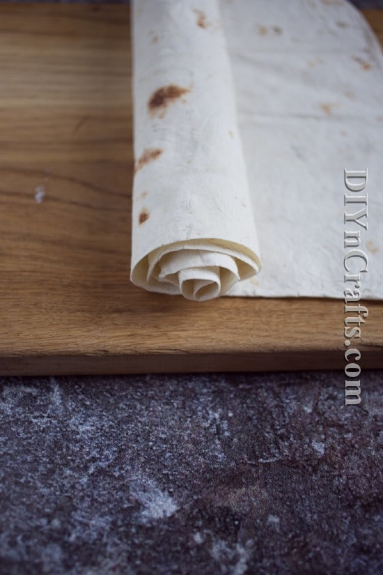 Roll tortilla and then cut to create pinwheels