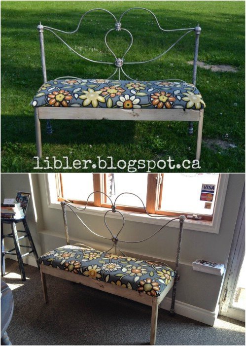 Repurposed Bed Frame Garden Bench