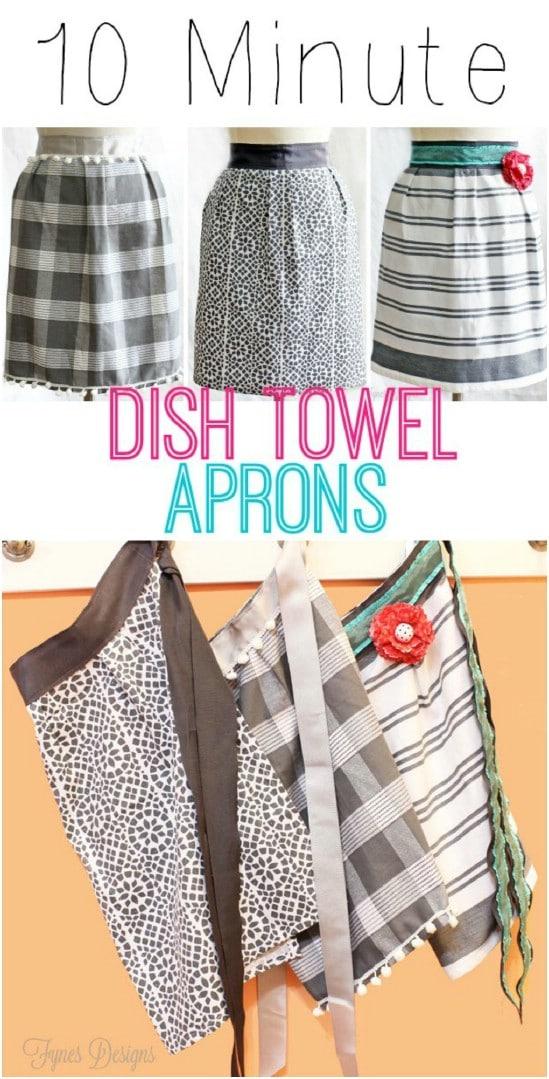 10 Minute Repurposed Dish Towel Apron