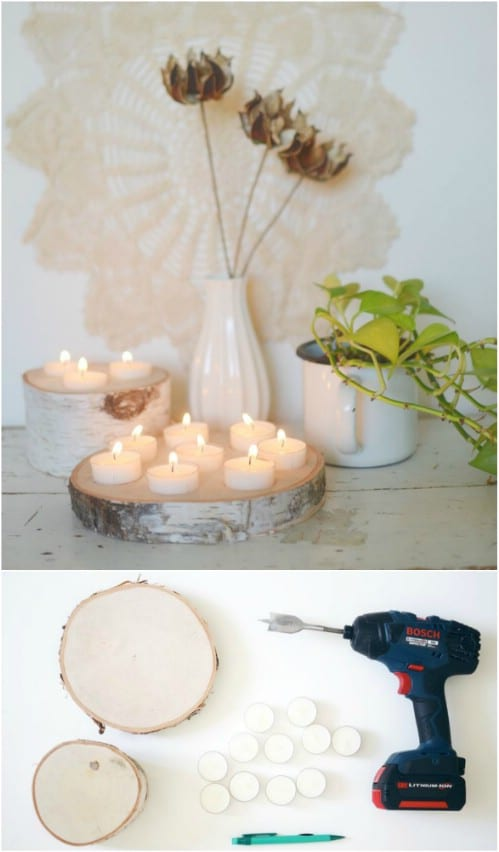DIY Birch Wood Tealight Holder
