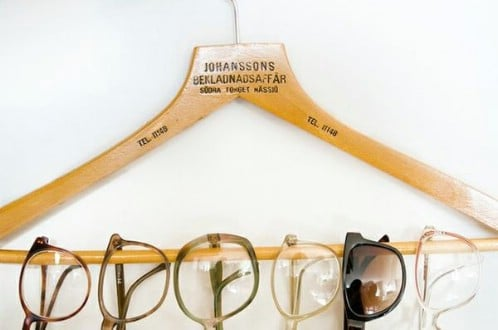 Suit Hanger Turned Glasses Rack