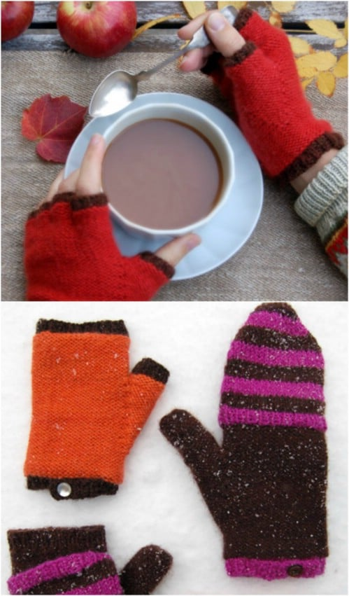 Knit Flip Top Mittens