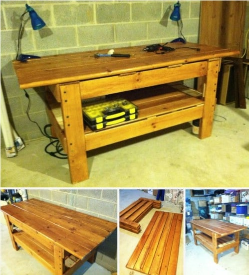 Repurposed Bunk Bed Workbench