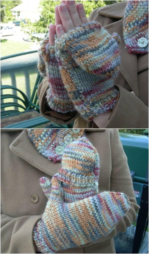 Easy Knit Hybrid Mittens