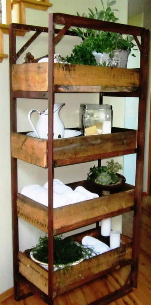 Rustic Bed Frame Shelf