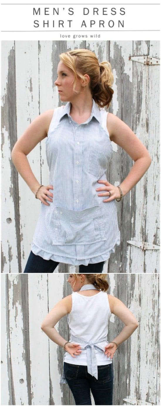 Repurposed Dress Shirt Apron