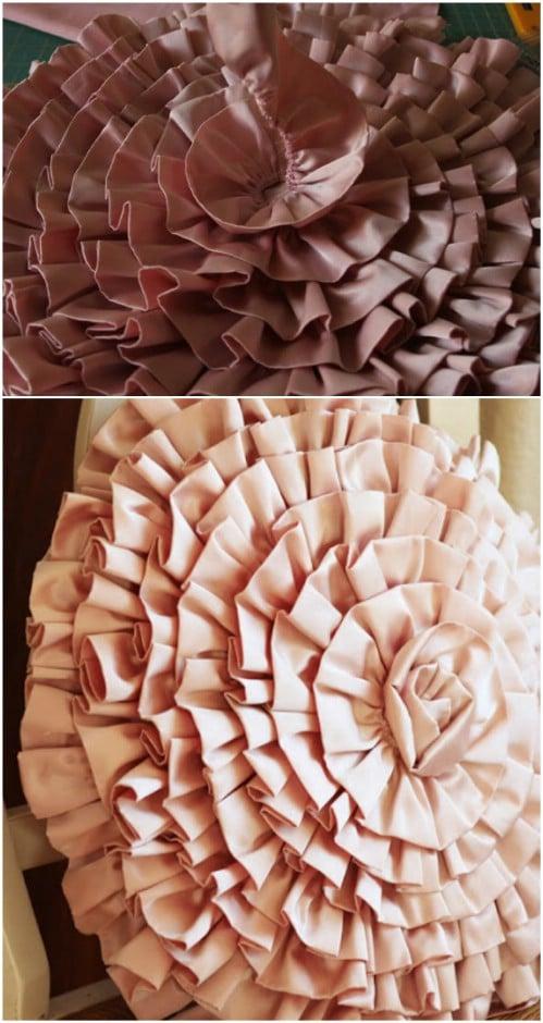 DIY Ruffled Spiral Pillow