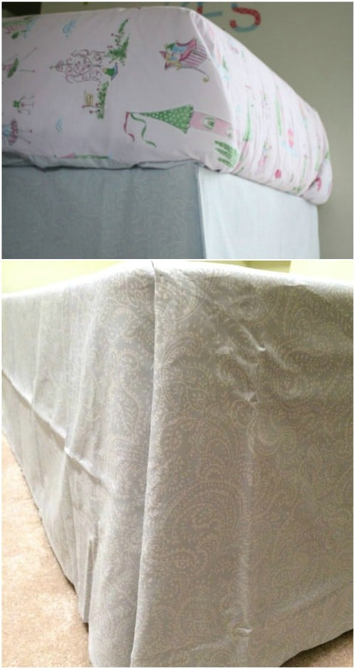 DIY No Sew Bed Skirt