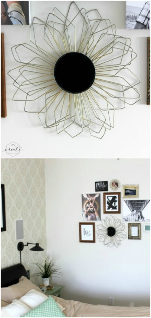 Upcycled Wire Hanger Sunburst Mirror