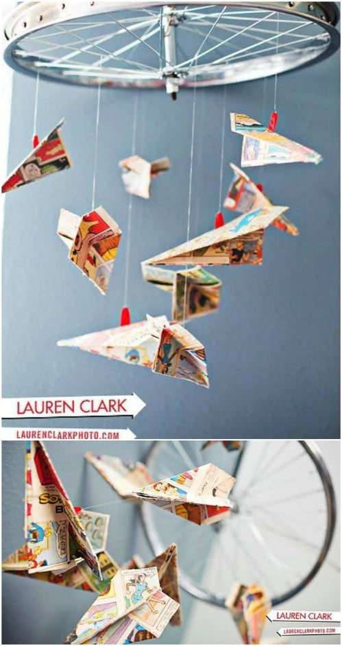 DIY Paper Airplane Mobile