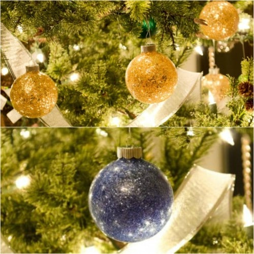 Upcycled Broken Glass Glitter Ornaments