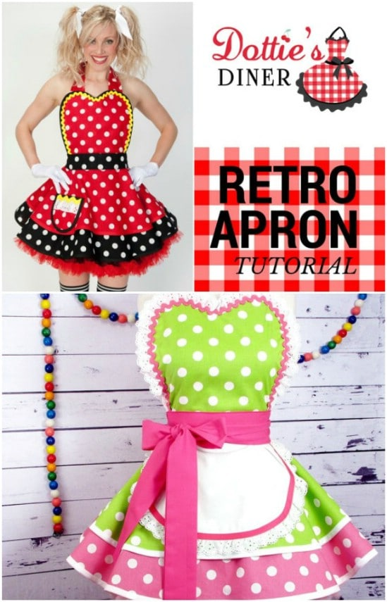 64ed71f8309 This vintage apron pattern is super easy to follow and you get the cutest  apron from it. The apron looks like something straight out of a 1950s diner  with ...