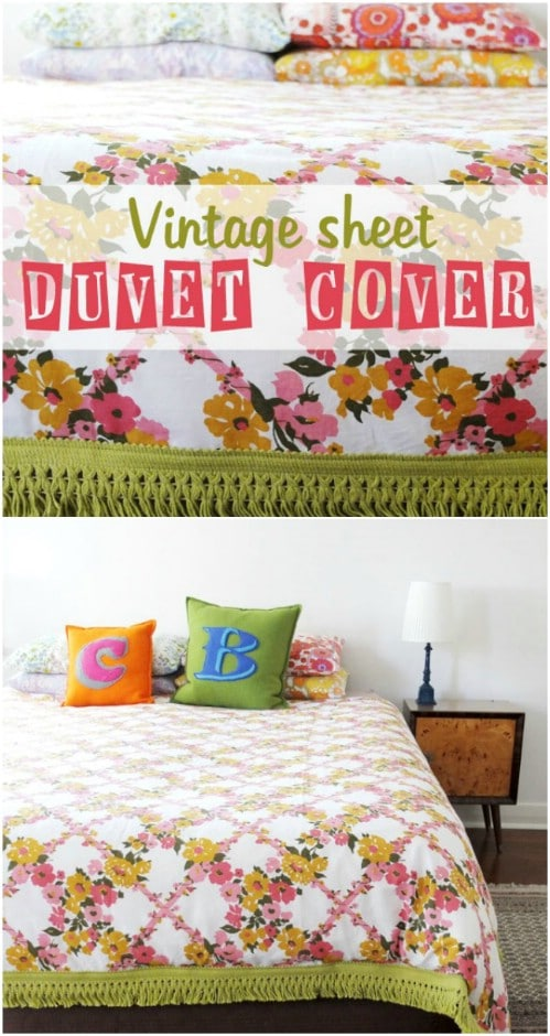 DIY Vintage Sheet Duvet Cover