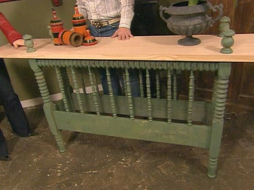 Gorgeous Repurposed Bed Frame Console Table