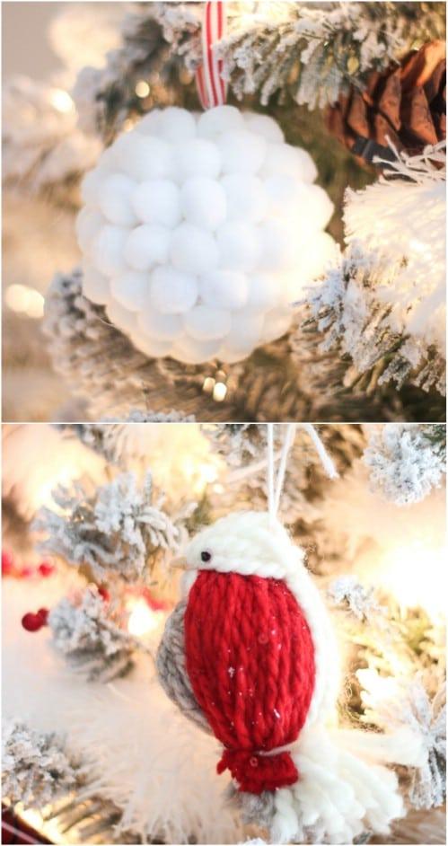 Pom Pom Covered Broken Ornament