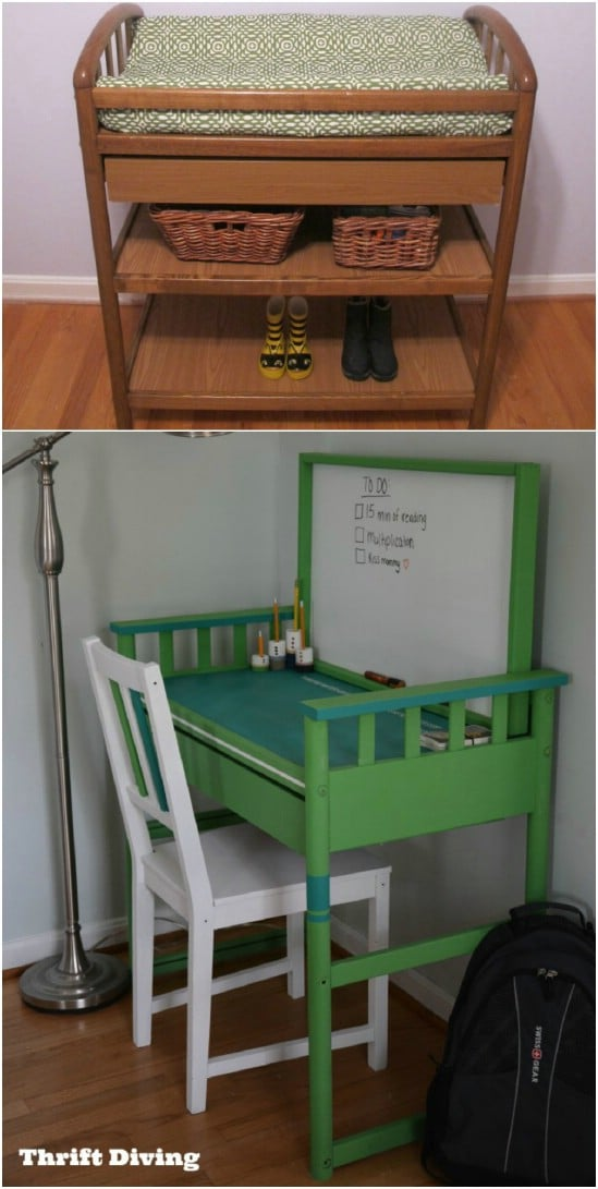 Repurposed Changing Table Desk