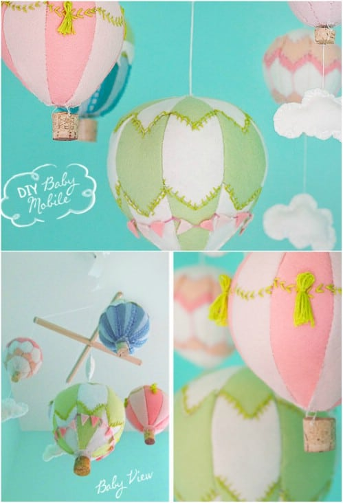 Colorful Felt Hot Air Balloons Mobile
