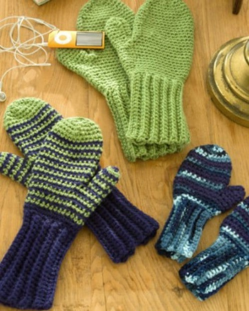 Crochet Mittens For The Whole Family