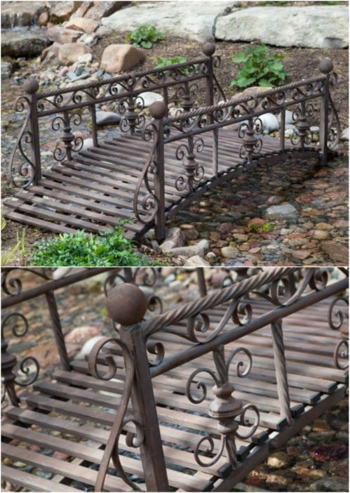 Repurposed Bed Frame Garden Bridge