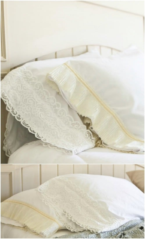 DIY Shabby Chic Lace Pillowcase