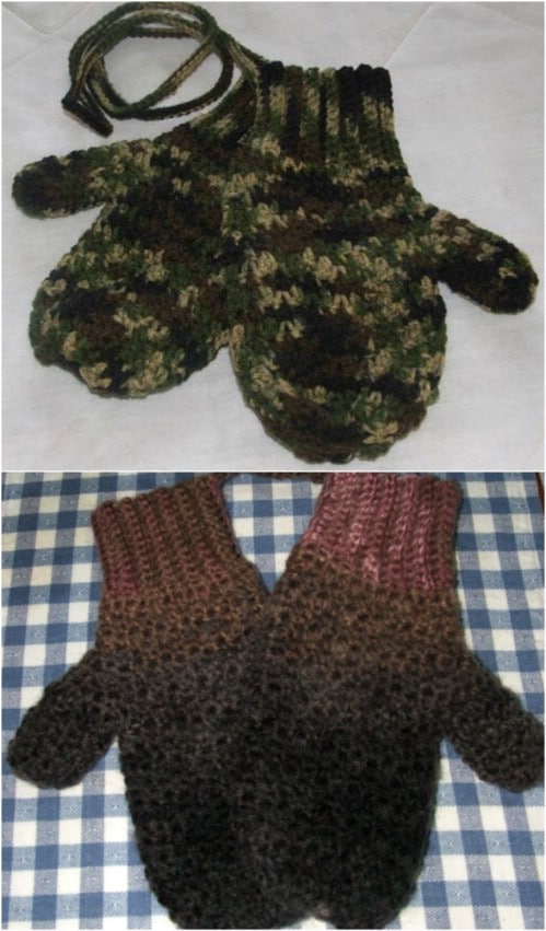 Men's Camouflage Mittens On A String