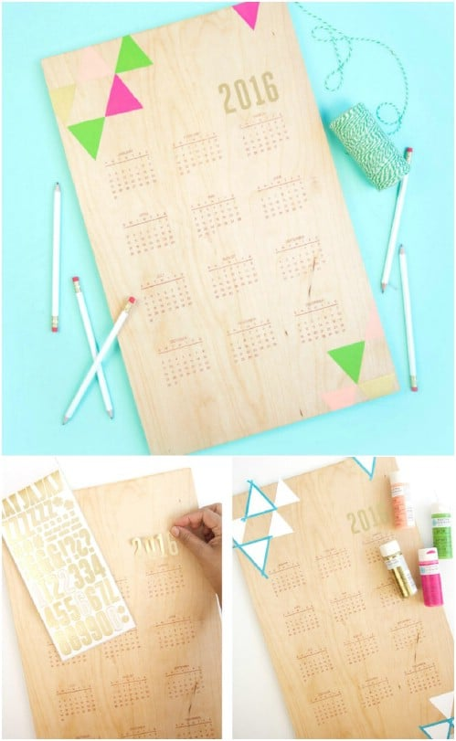 DIY Hand Stamped Wood Calendar