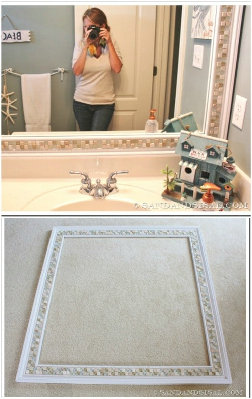 Decorative Tile Bathroom Mirror