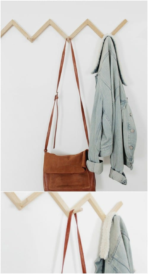 Easy DIY Zig Zag Coat Rack