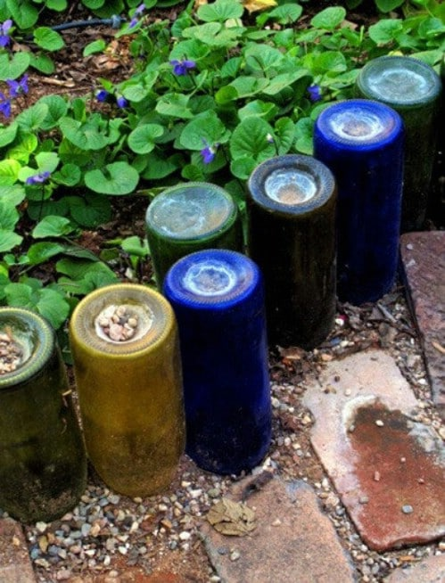Recycled Wine Bottle Garden Edging