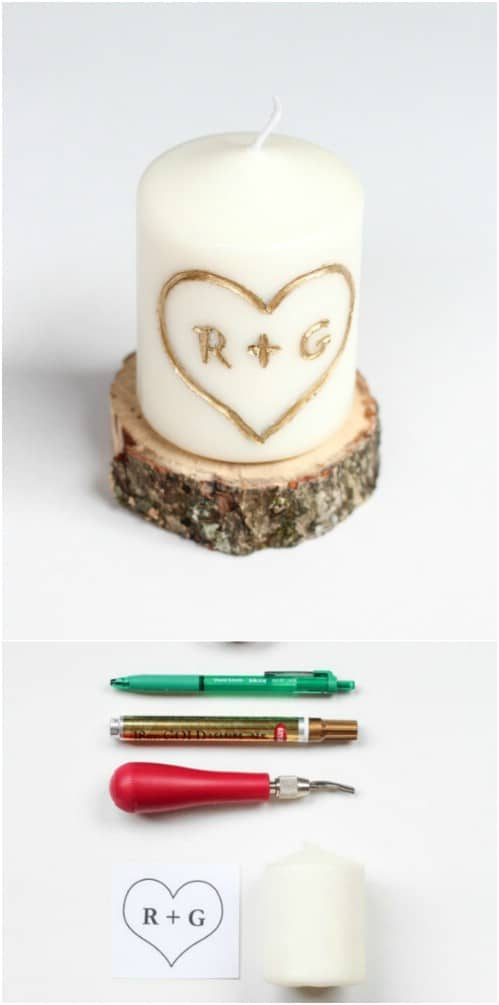 DIY Carved Wooden Base Candles