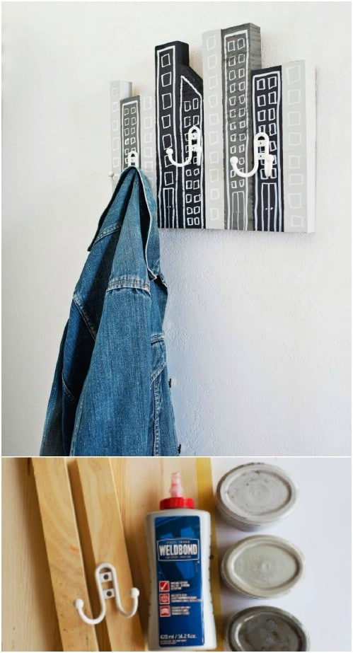 DIY Modern Cityscape Coat Rack