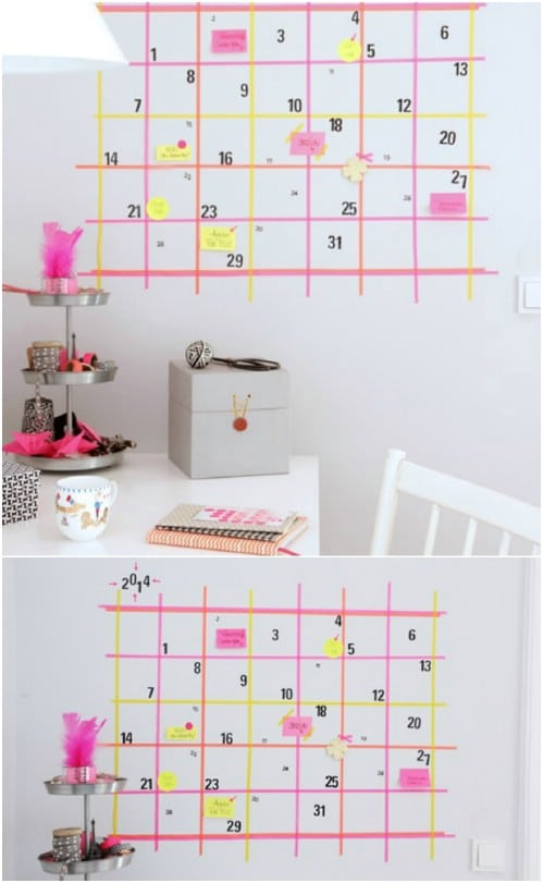 DIY Masking Tape Calendar Wall