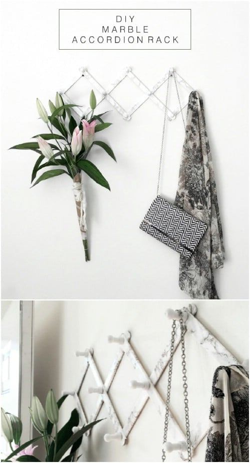 DIY Marbled Accordion Coat Rack