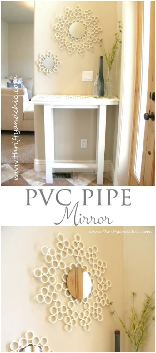 Repurposed PVC Pipe Decorative Mirror