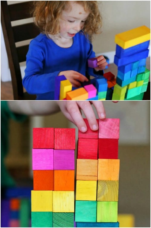 Wooden Rainbow Building Blocks