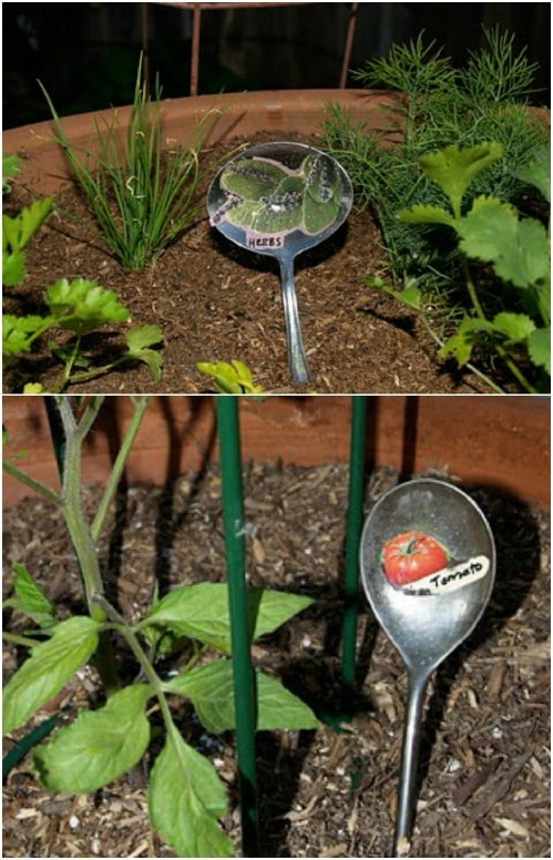 Repurposed Silver Spoon Plant Markers