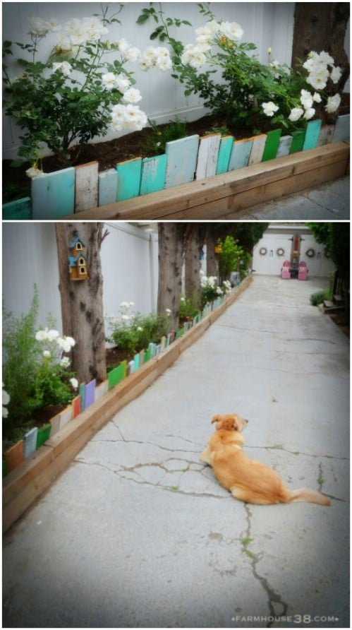 Repurposed Scrap Wood Garden Edging