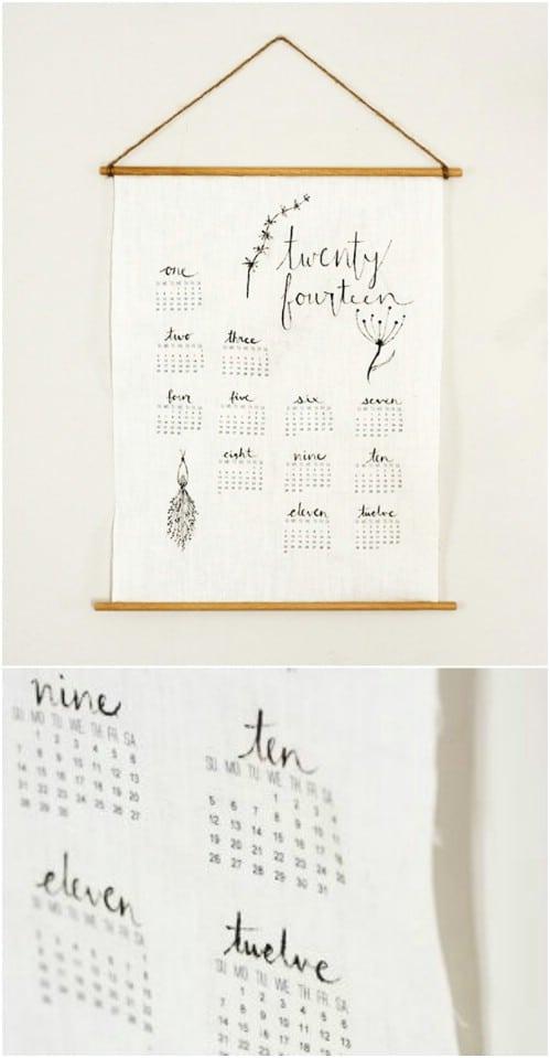 DIY Vintage Linen Wall Calendar